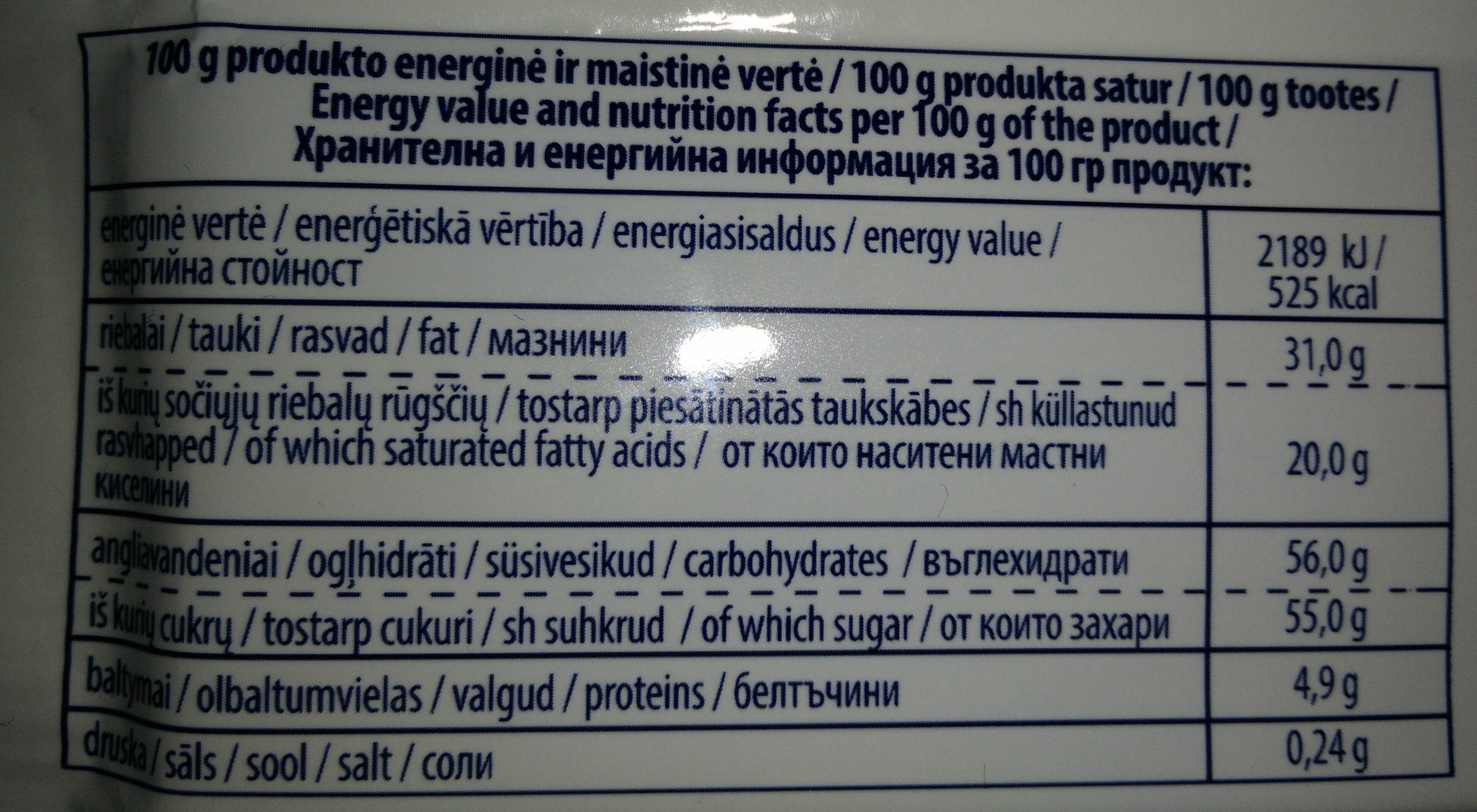 Pieninis šokoladas su aviečių gabaliukais - Nutrition facts - lt