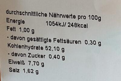 Weizenbrötchen 5er - Nährwertangaben