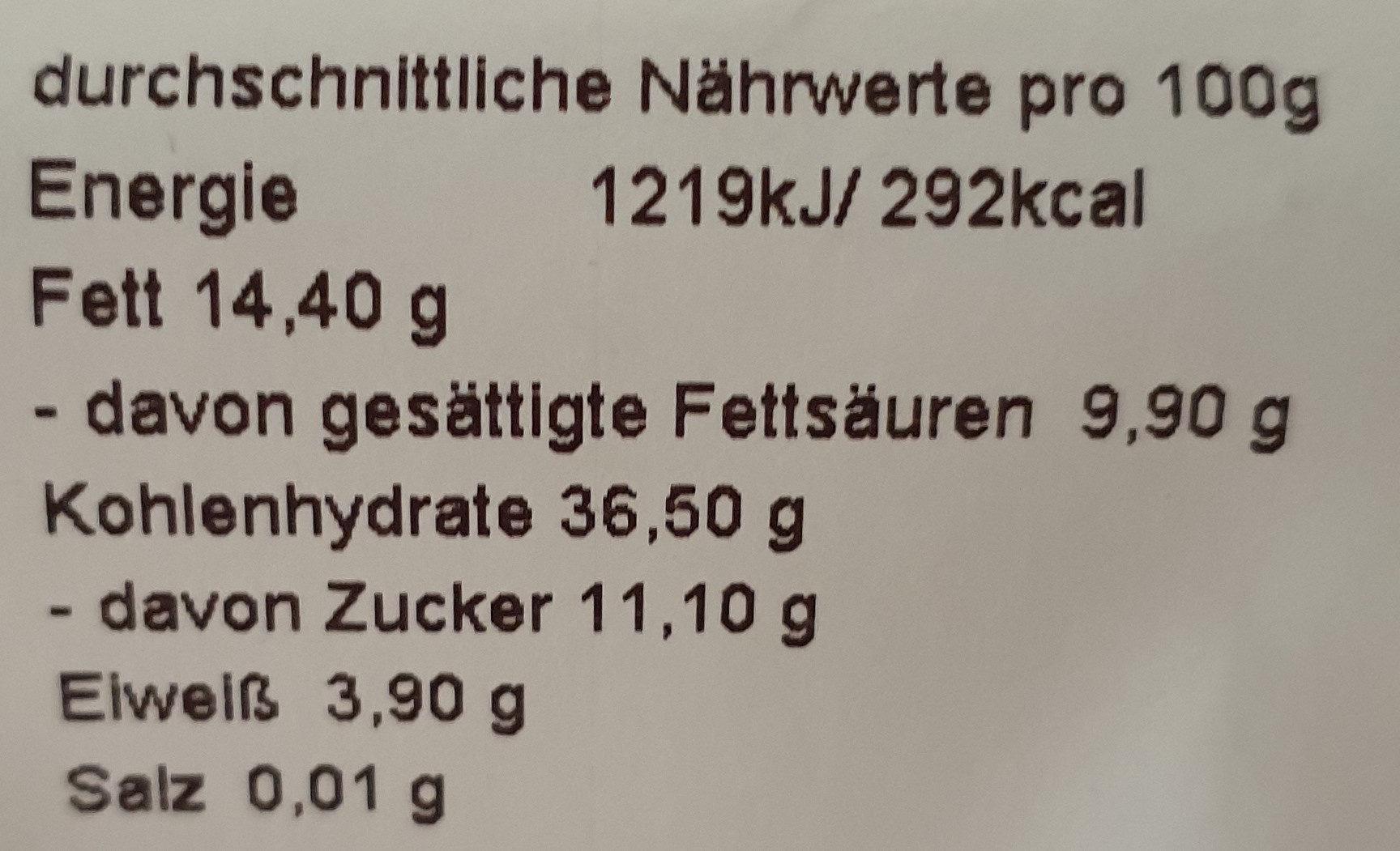 Kirschplunder (Butterplunder) - Nutrition facts