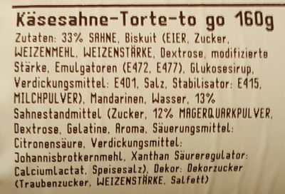 Käsesahne-Torte-To Go - Inhaltsstoffe