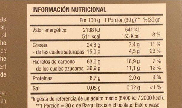 Barquillos con Chocolate Negro - Informazioni nutrizionali - es