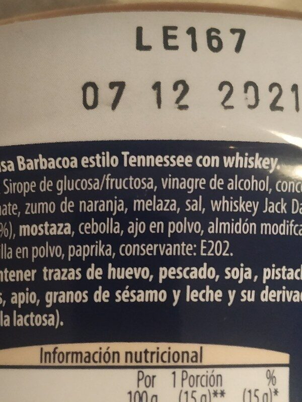 whiskey bbq tennessee sauce - Ingredients - es