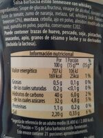 whiskey bbq tennessee sauce - Informació nutricional - es