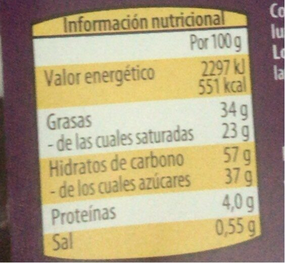 Halloween Palmeritas al cacao - Informations nutritionnelles - es