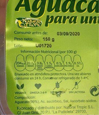 Aguacate para untar - Informations nutritionnelles - es
