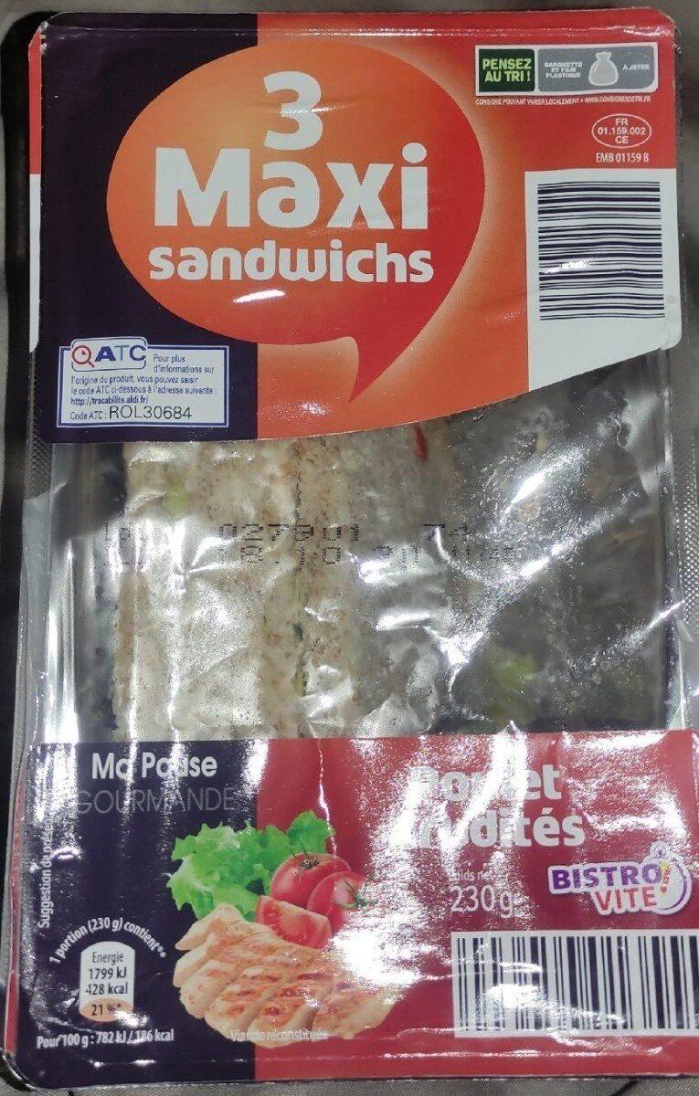 3 maxi sandwichs - poulet crudités - Product - fr