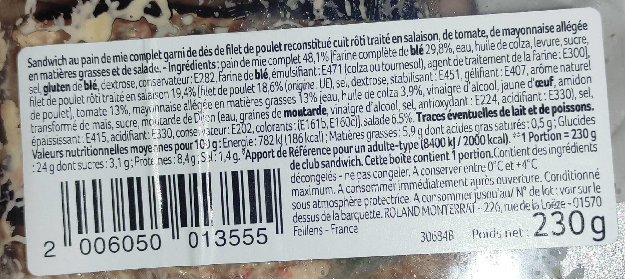 3 maxi sandwichs - poulet crudités - Voedingswaarden - fr