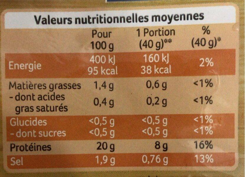 Roti de poulet 100% filet - Informations nutritionnelles - fr