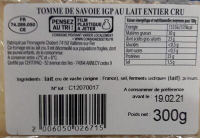 Tomme de Savoie au lait cru - Valori nutrizionali - fr
