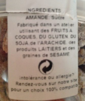 Amande caramelisée - Ingredients