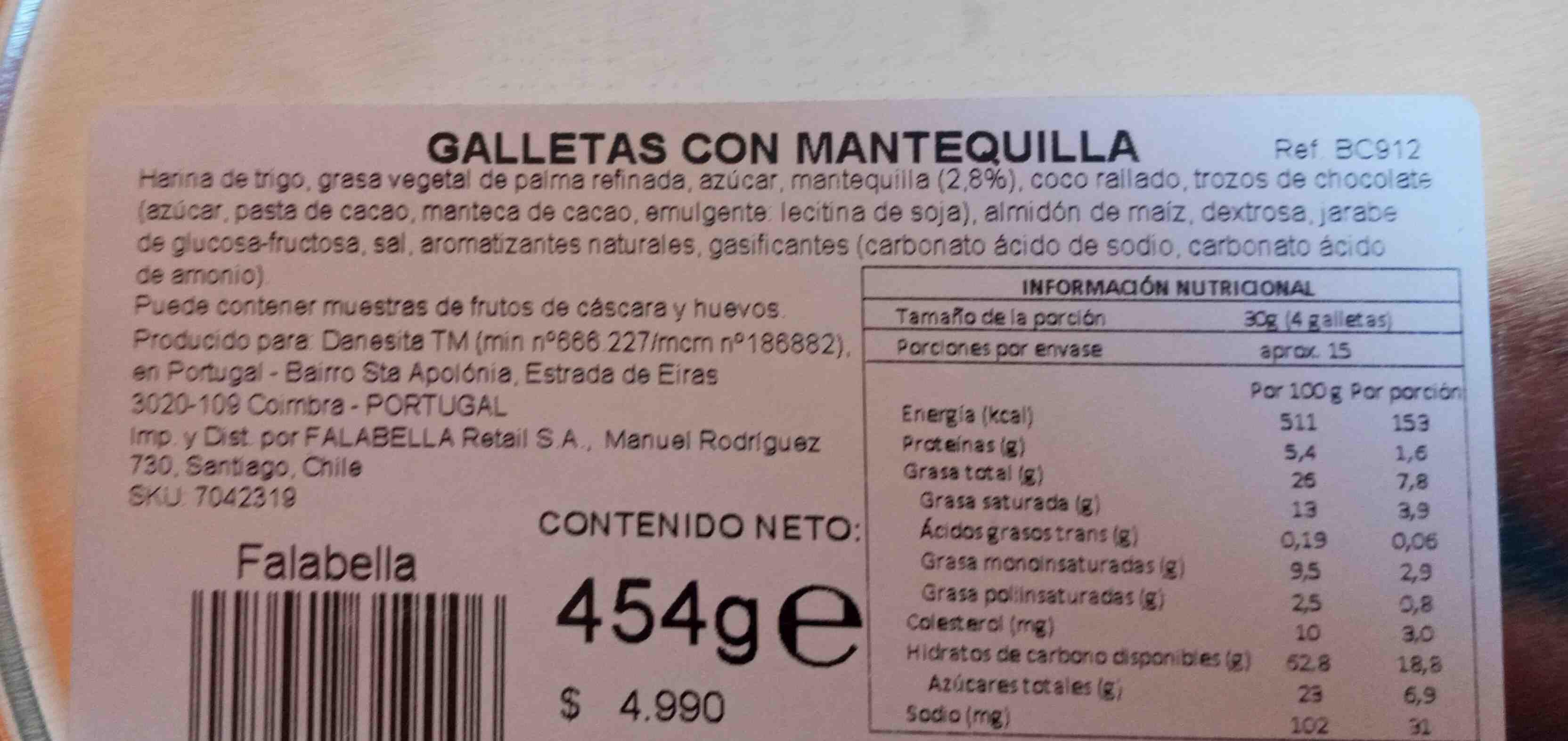 Galletas con mantequillas - Ingrediënten - en