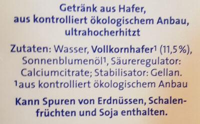 Hafer-Drink Natur - Ingredients