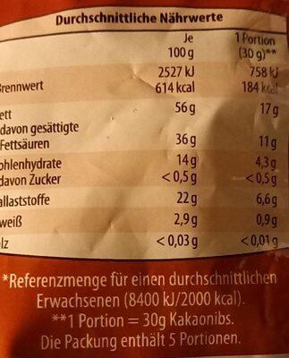 Kakaonibs - Nutrition facts - de