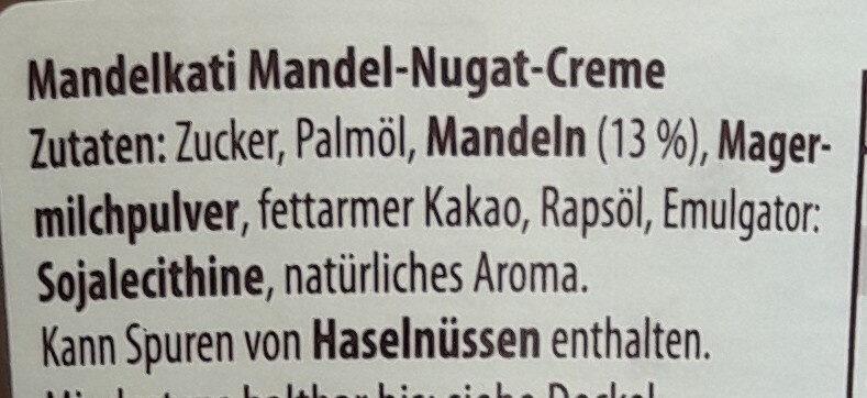 Mandel Nugat Creme - Ingrediënten