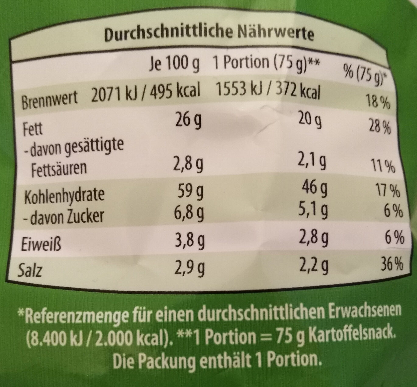 Snack Ringe Sour Cream & Onion - Nutrition facts - de