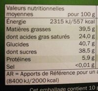 Cioccolato fondente - 60% cacao - Informació nutricional - fr
