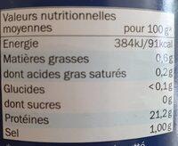 Filet de thon au naturel - Nutrition facts - de