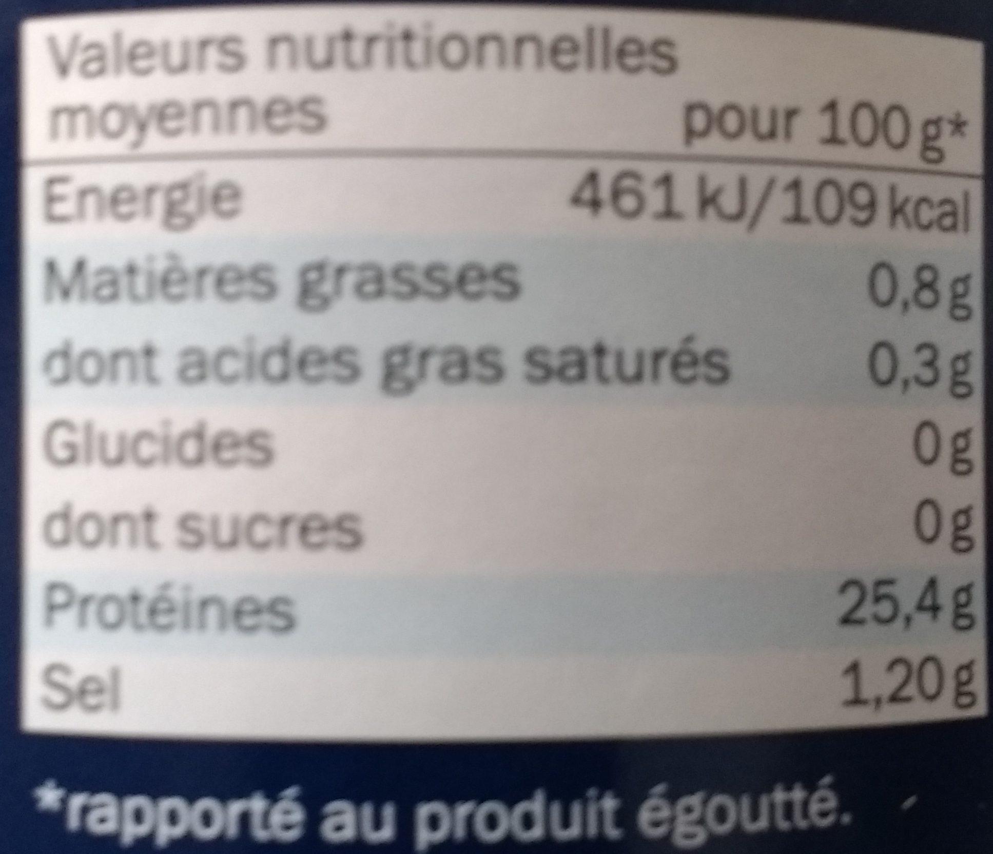 Filet de thon au naturel - Informations nutritionnelles - fr