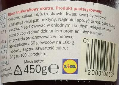 Erdbeere  marmelade - Składniki - pl