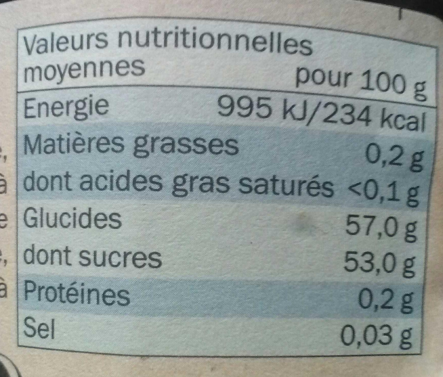 Confiture myrtilles - Voedingswaarden - fr