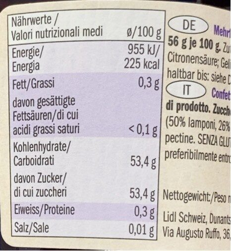 Fruits rouges extra - Nutrition facts - en