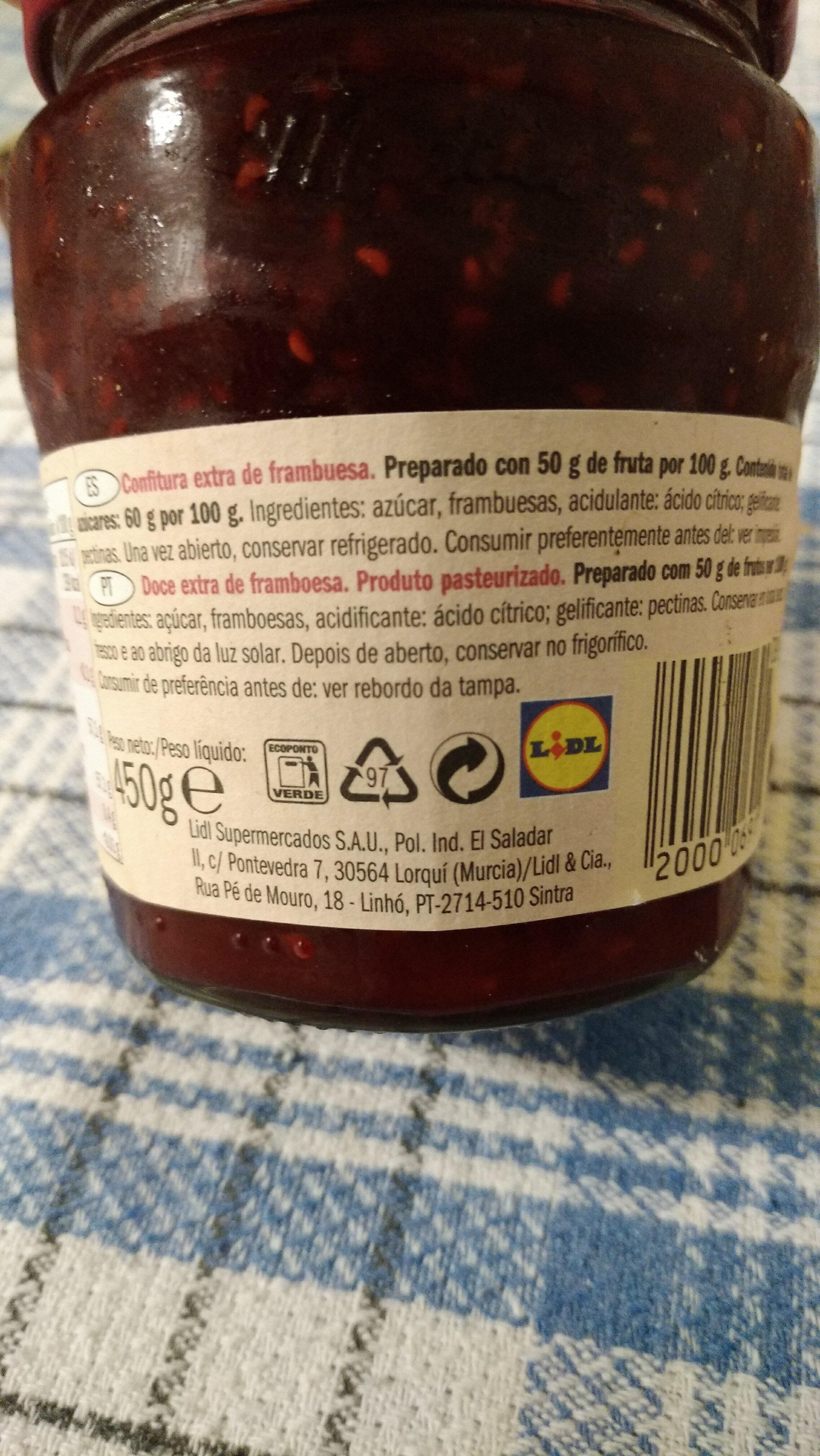 Raspberry fruit spread, raspberry - Producto - es