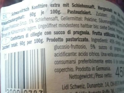 Schwarcirsche Ciliegie - Ingredients