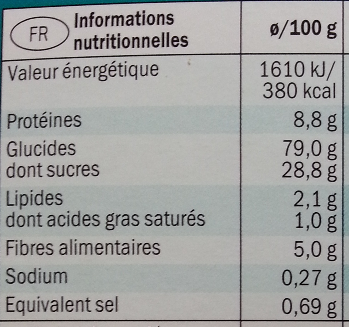Flakers Choco - Informations nutritionnelles