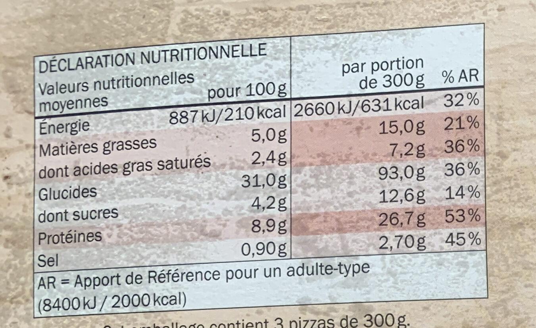 Pizza Margherita pâte fine - Nutrition facts - fr