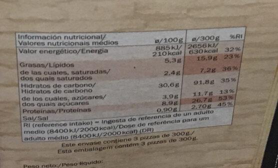 Pizza Margherita - pâte fine - Nutrition facts - fr
