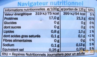 Filet de Colin dAlaska, Surgelé - Voedingswaarden - fr
