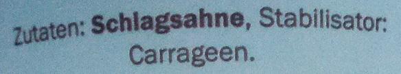 Schlagsahne - Ingredients