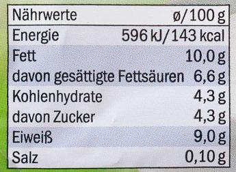 Speisequark 40% Fett i. Tr. - Nutrition facts