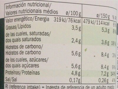 Bífidus cremoso natural - Nutrition facts - de