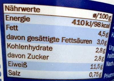 Queso fresco granulado - Nutrition facts