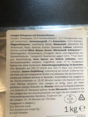 Lasagne Bolognese - Ingrédients - fr