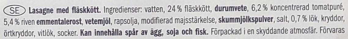 Lasagne Bolognese - Ingrediënten - sv