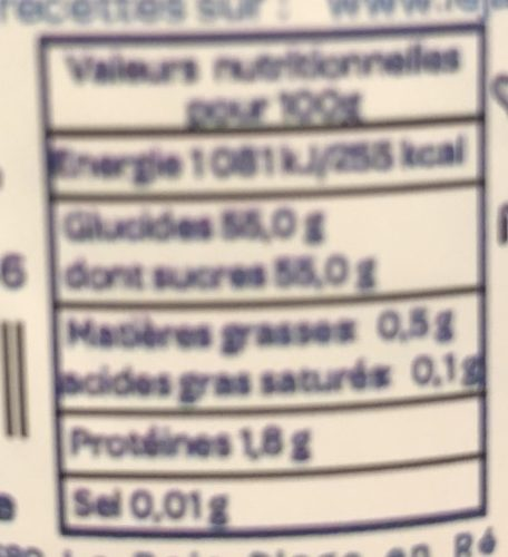 Framboise - Nutrition facts