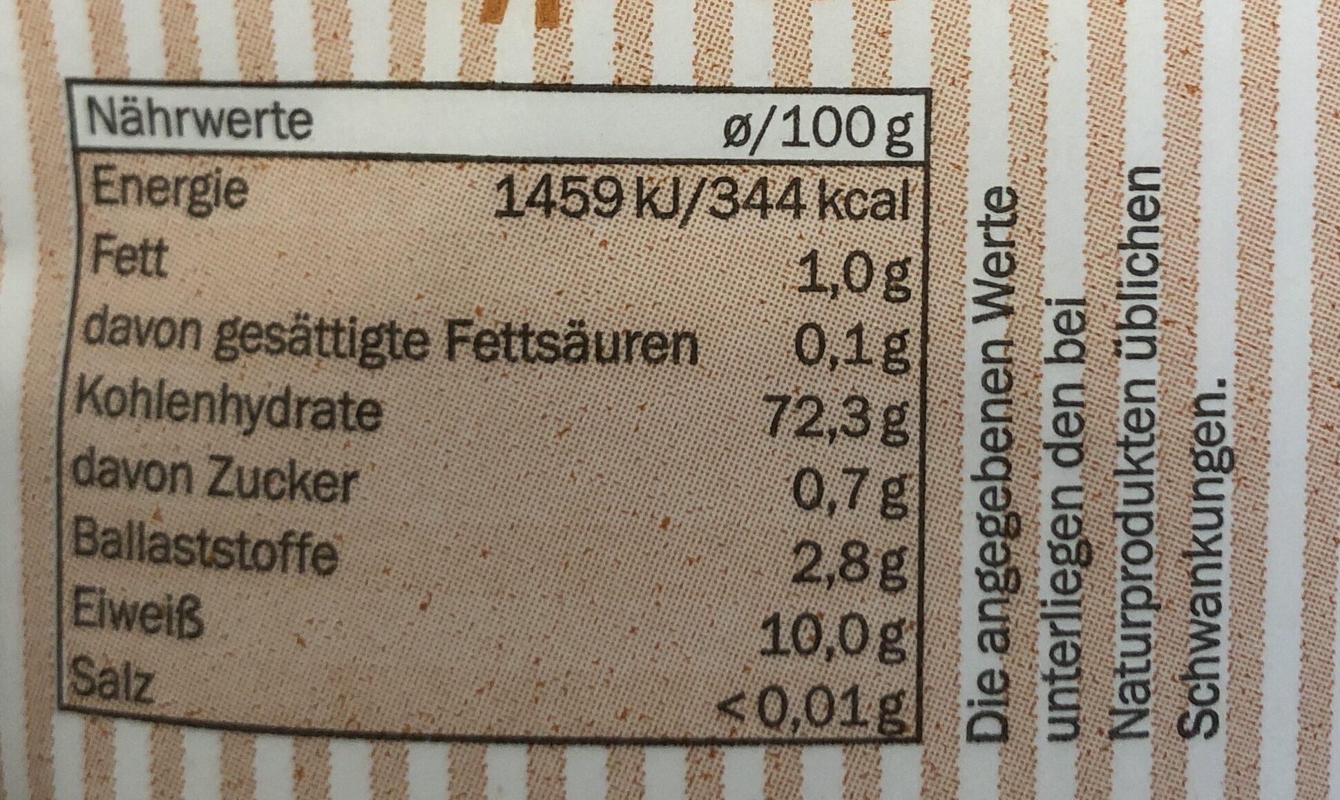 Weizenmehl Type 405 - Valori nutrizionali - en