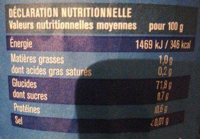 Harina de trigo - Nutrition facts