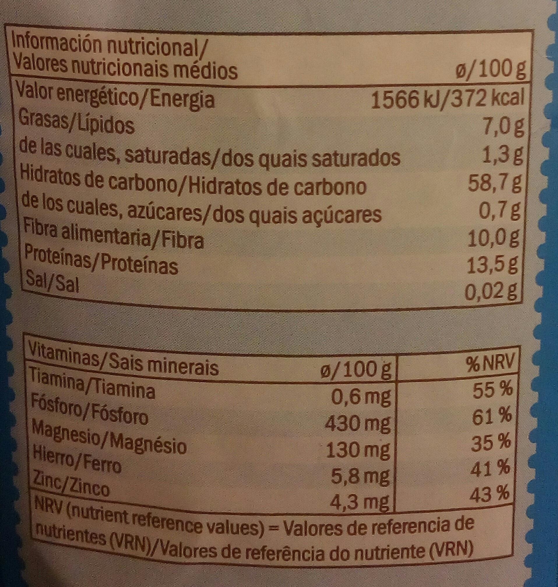 Flocons d'avoine complets - Informació nutricional - ca