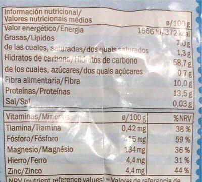 Flocons d'avoine complets - Nutrition facts - en