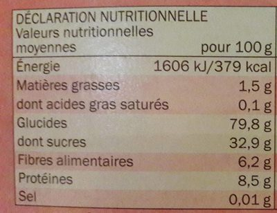 Golden puffs - Informations nutritionnelles