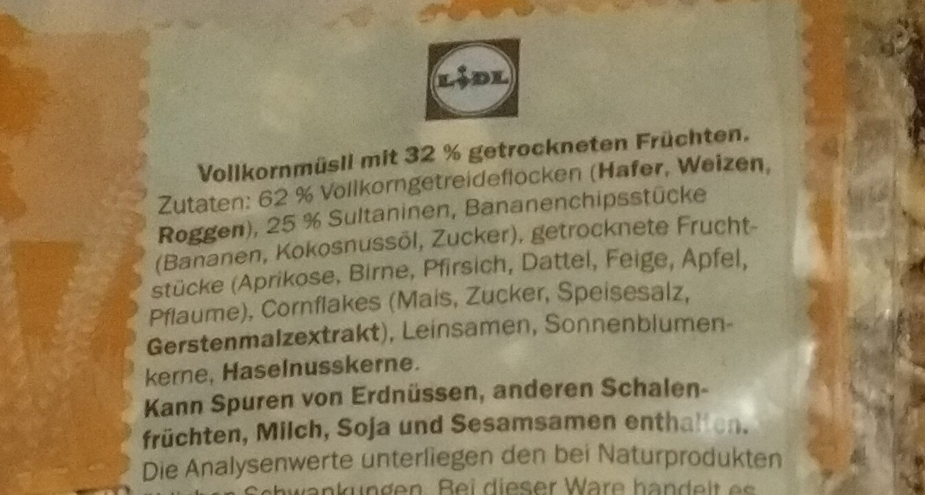 Multifrucht Müsli - Ingredients - de