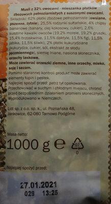 Multifrucht Müsli - Składniki - pl