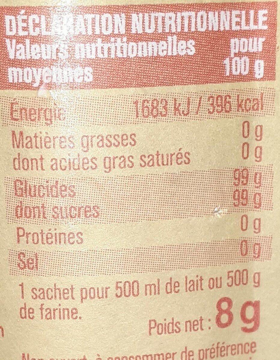 Sucre vanillé - Informations nutritionnelles - fr