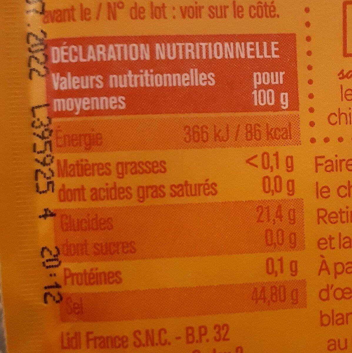 Backpulver - Nutrition facts - en