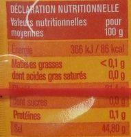 Levure chimique - Nutrition facts