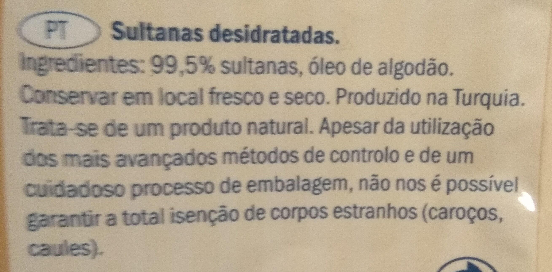 Raisins secs sultanines - Ingredients - en
