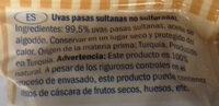 Raisins secs sultanines,soufrés - Ingredientes